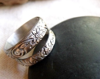 Sterling Silver Wedding Band Set - Vines and Flowers - Floral Fern Pattern - Made To Order in Your Size