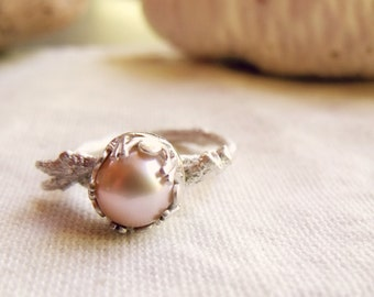 Pearl Twig Ring - Sterling Silver Branch - Peach - Cast From a Real Twig - made to order