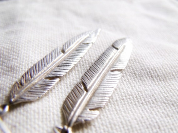Silver Feathers - Sterling Silver Earrings on French Hooks- Highly Detailed Texture
