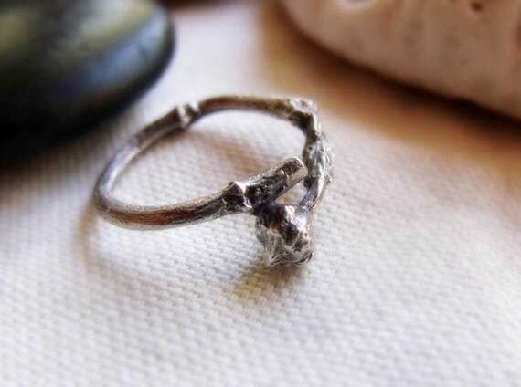 Budding Twig Ring - Sterling Silver Tiny Branch - Wood Texture  - Made To Order Sizes 3 to 7 US