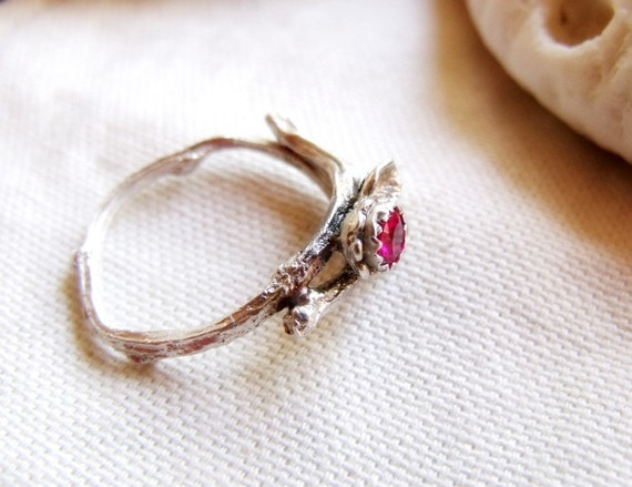 Rose Red Zircon Gemstone Twig Ring - Sterling Silver Tiny Branch - Wood Texture - Leaves - Sizes 6, 7, 8, 9