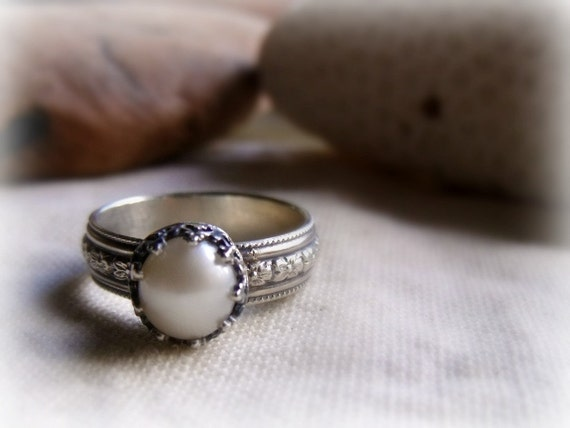 Pearl Engagement Ring - Sterling Silver Crown Setting Wide Floral Band - Peach, Mauve or White 9mm Round Pearl - Made To Order