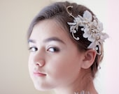 Rhinestone Hair comb - Gold Petunia Shaped Floral Encrusted with Swarovski crystals  / Gold