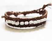 Woven Bracelet with White Beads
