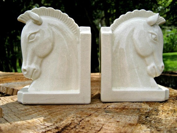 Vintage horse bookends, great art deco style, white