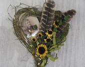 SALE - Sunflowers and Vintage Pix in Heart Memory Box - Please smile wreath - Wall decor - Gold wreath