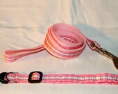 Super Cute Pink Striped/Plaid Dog Leash and Collar Set
