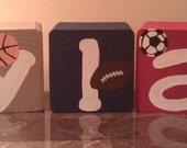 "3 1/2"" Name Blocks done in Sports Theme"
