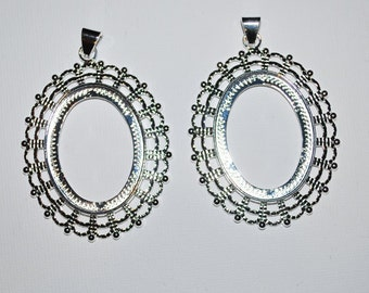 Silver Fancy Oval Cabochon Setting Pendant- Set of 2