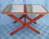 Folding Wood Table With Chart of Palm Beach