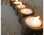 Oak bark tea light candle holder set of 5