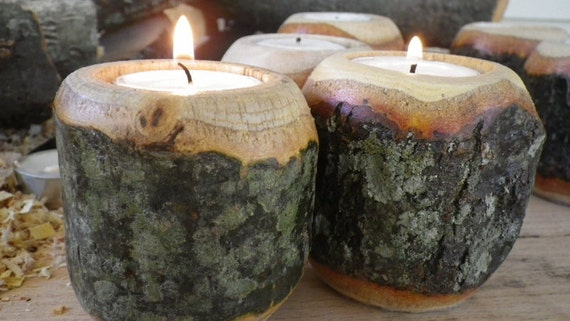 Natural Bark, double curve candle holder SET OF 3