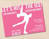 HIT THE ICE ice skating personalized printable birthday party invitation diy