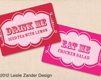 ALICE IN WONDERLAND personalized printable food & drink table tents