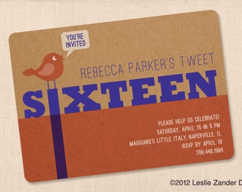 SWEET SIXTEEN TWEET 16 personalized printable birthday party invitation diy