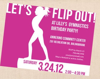 GYMNASTICS personalized printable birthday party invitation DIY
