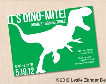 DINO-MITE DINOSAUR personalized printable birthday party invitation
