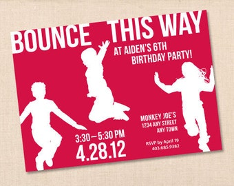 BOUNCE THIS WAY personalized printable birthday party invitation