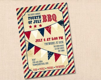 FOURTH of JULY BBQ personalized printable party invitation