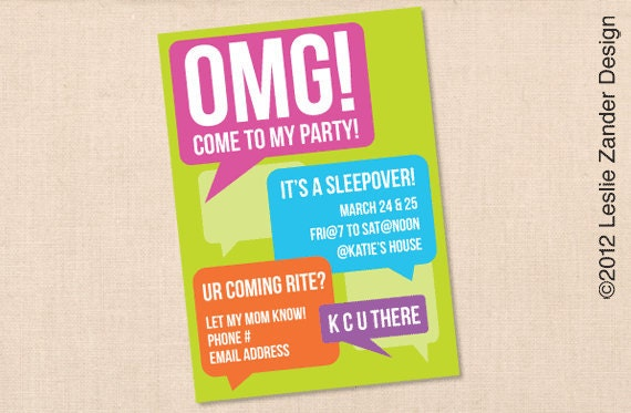personalized OMG teen/tween birthday party invitation
