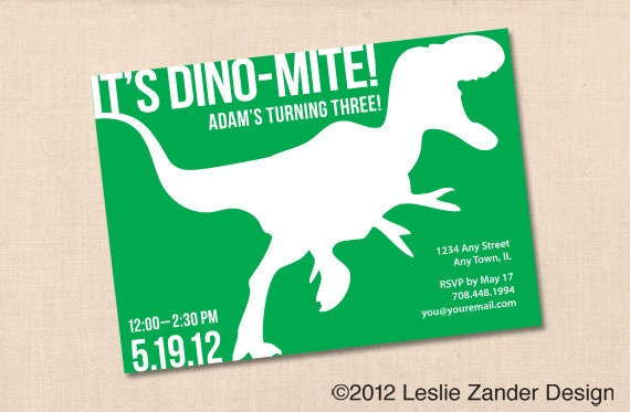 DINOMITE DINOSAUR personalized printable birthday party – Free Printable Dinosaur Birthday Party Invitations