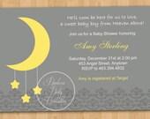 Moon and Stars Baby Shower Invitation - DIY Custom Printable