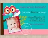 Pink and Green Cute Owl Birthday Invitation - DIT Custom Printable