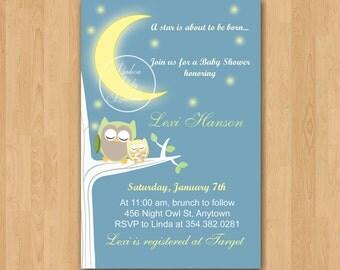 Night Owl Baby Shower Invitation - DIY Custom Printable