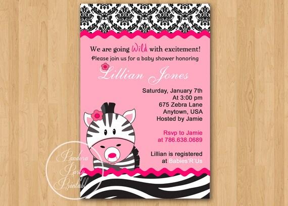 hot pink zebra baby shower invitation diy custom printable