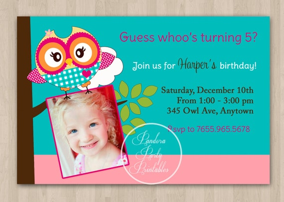 Pink and Green Cute Owl Birthday Invitation - DIT Custom Printable