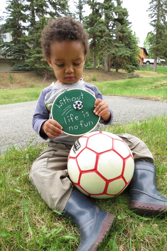 """Soccer Embroidery Hoop wall hanging - """"Without soccer life is no fun"""" - recycled felt - 6 inch"""