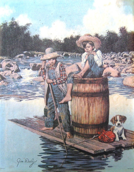 Vintage Children's Wall Art - Jim Daly Lithograph Print of Tom Sawyer and Huck Finn  SHIPPING INCLUDED