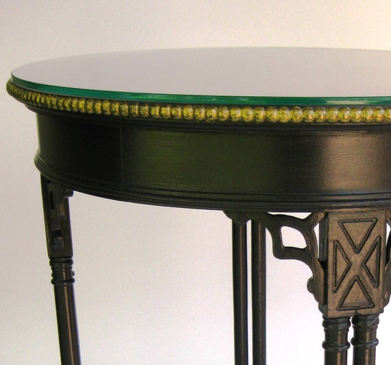 Vintage Accent Table, Black and Metallic with Glass Top SHIPPING INCLUDED