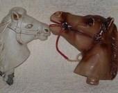 Two Rare Plastic Stick Horse Heads Brown White