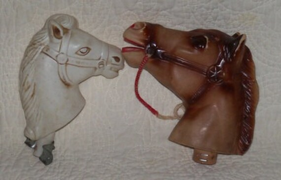 Two Rare Plastic Stick Horse Heads Brown White