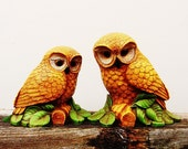 Vintage Orange Owls Set