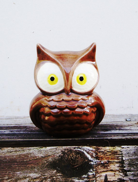 Ceramic Brown Owl Figurine