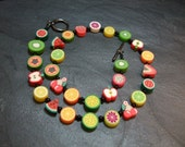 Tutti Frutti Collection Fruit Salad Kitsch Polymer Clay Children's Necklace 15 inch