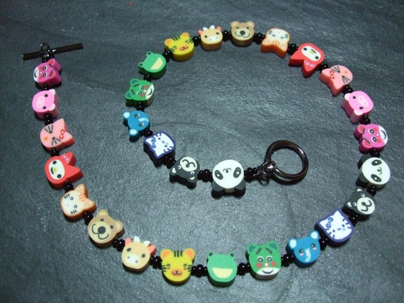 "Animal Magic Collection: ""Rainbow Zoo"" Kitsch Polymer Clay Necklace 15 inches"