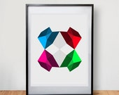 Minimal Modern Geometric Polygon Art Print 8 X 10