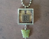 Pendant Necklace Charm Silver Soldered Vintage Inspired Copper R Initial Double Sided Glass Butterfly Dangle Bead