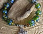 Christian Green Blue and Brown Cross Beaded Bracelet