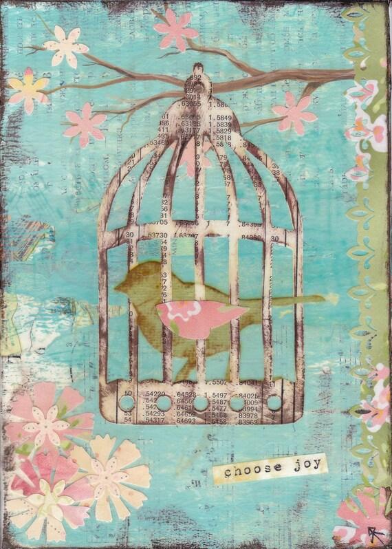 "Mixed Media Art Original ""Choose Joy"" 5x7 Canvas Spring Blossom Bird"