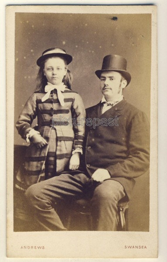 Antique Victorian CDV photograph of father & daughter, Swansea Wales