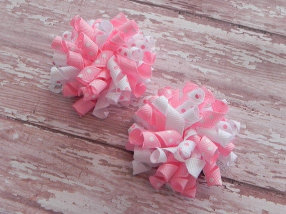 2 Pink and White Polka Dot Korker Hair Bows - Pair of Clips - by sweetteabowtique