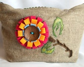 Linen and cotton tote bag/every day bag/eco bag/ with lemon grass colour handles/hand embroidered and felt flower