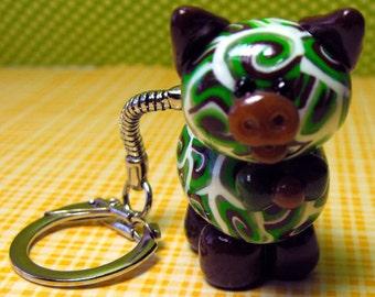 Chocolate Swirl Piglet Key chain Charm