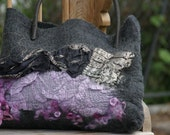 Nuno felted black/lilac purse with real leather handle FREE SHIPPING