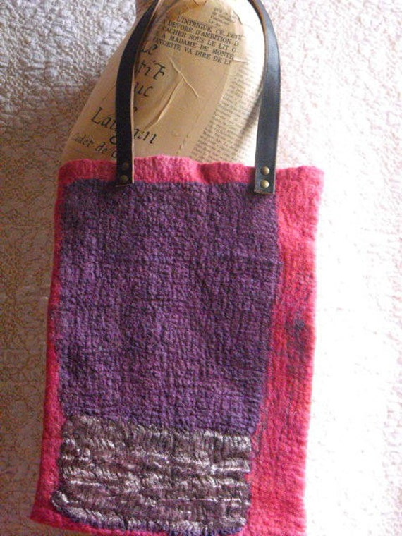 nuno felted purple tote bag with genuine leather handle