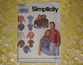 simplicity 8607 misses mens or teen boys western shirts long or shirt sleeves factory folded